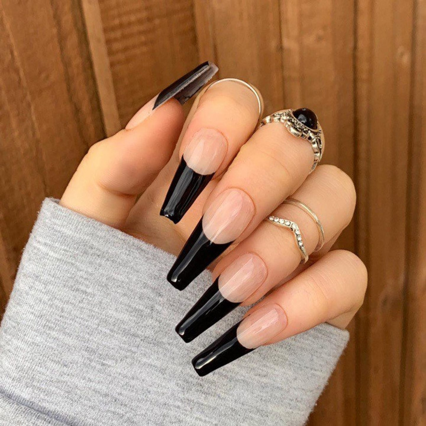 Long black French tip coffin nails