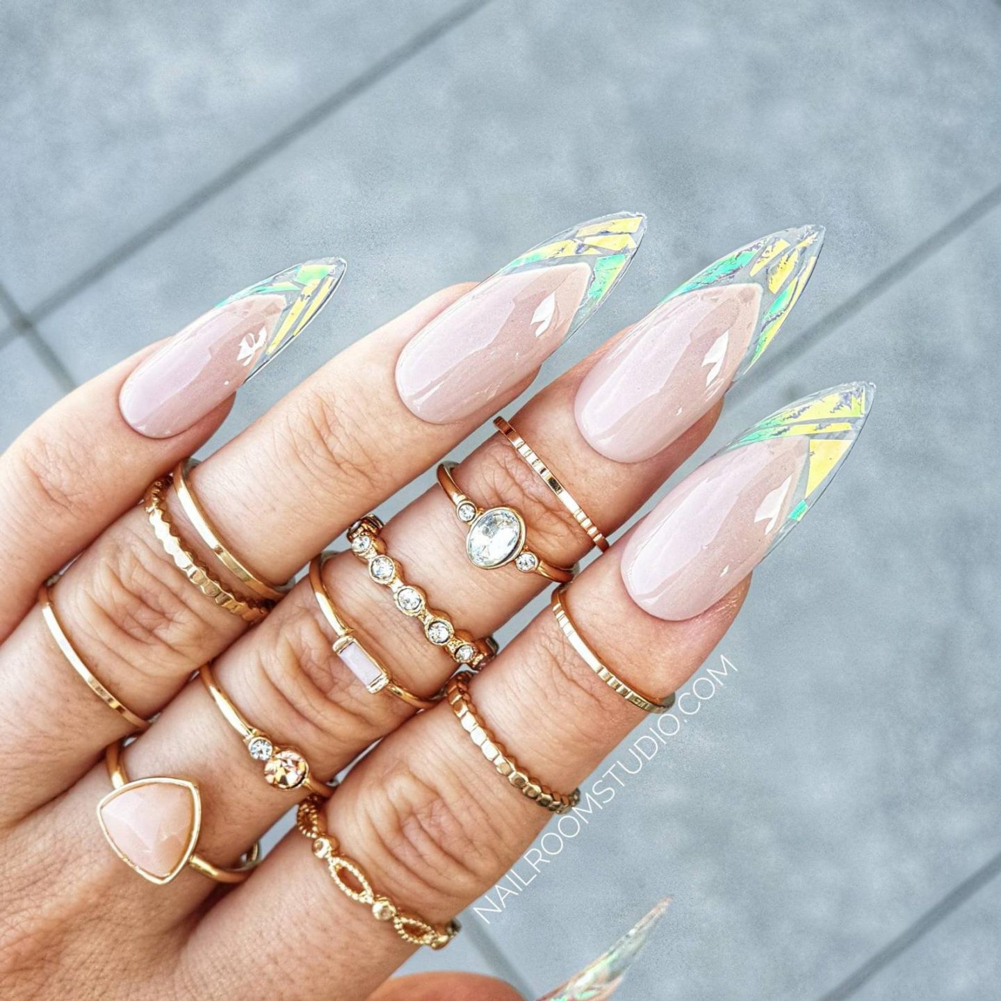 Holographic French nails