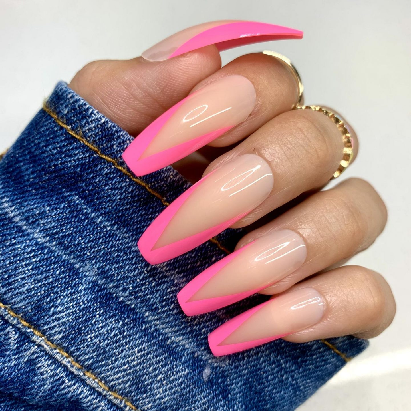 Long hot pink French tip coffin nails