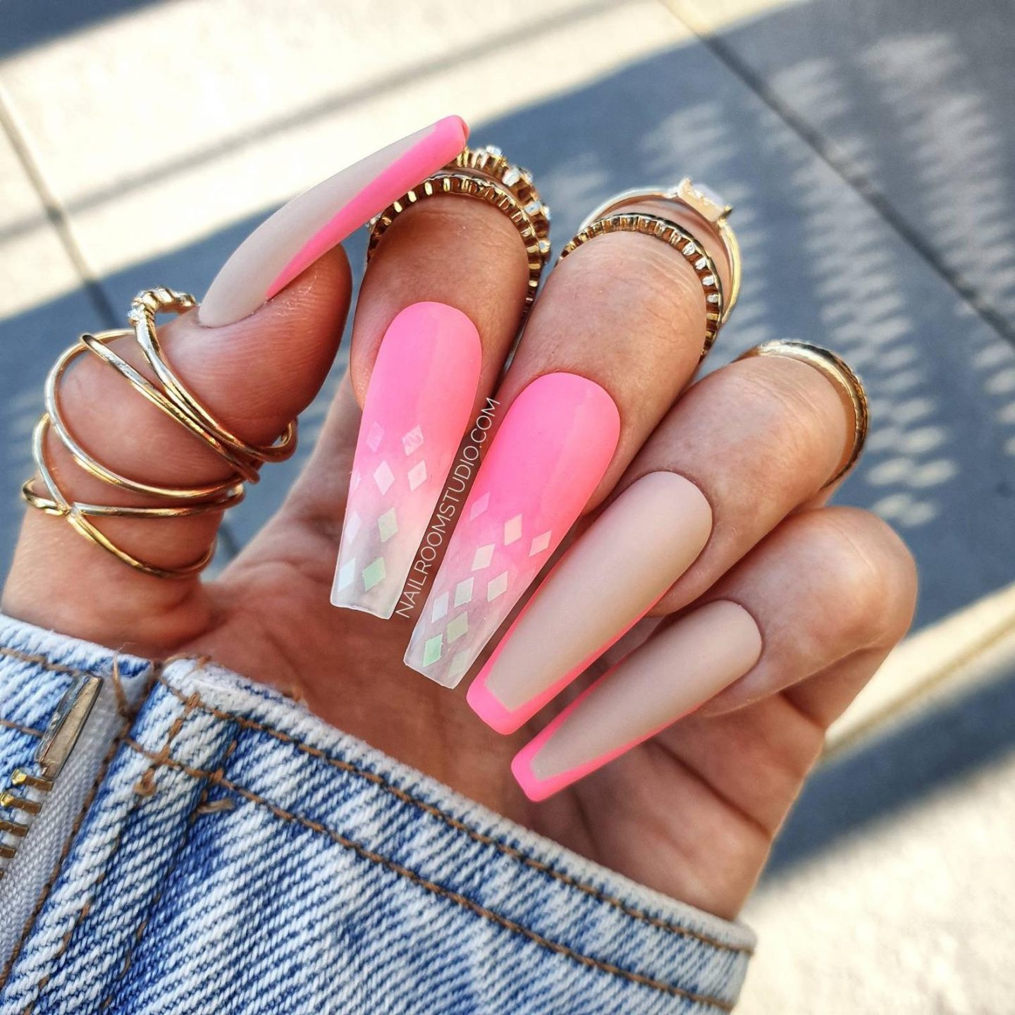 Neon pink French tip coffin nails