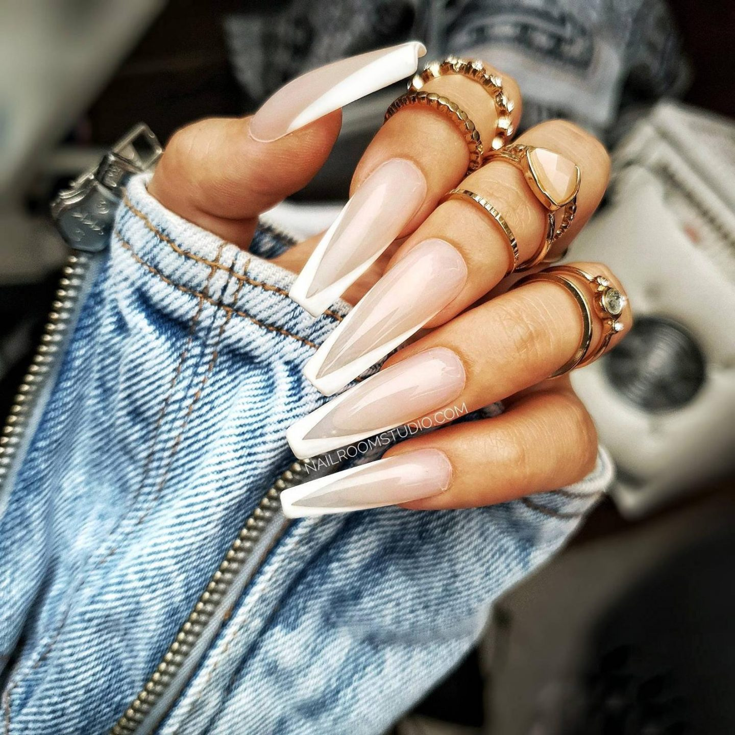 Long white French tip coffin nails