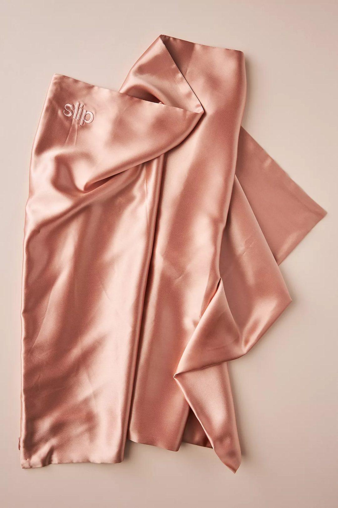 Rose gold silk pillow case