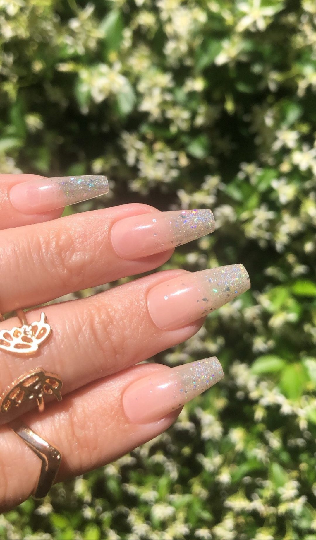 Cute silver glitter French tip wedding nails