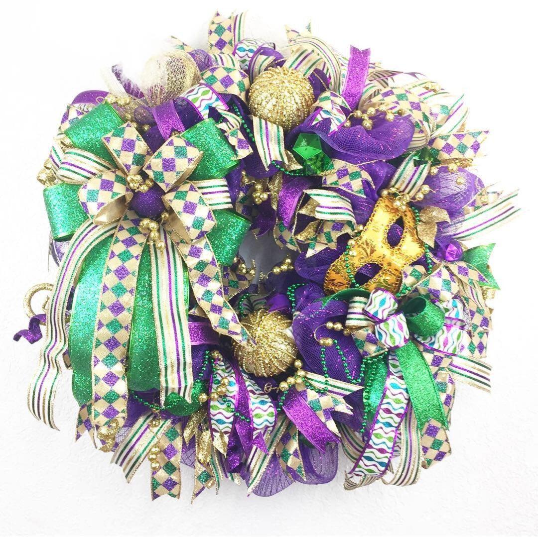 Green and purple ribbon wreath