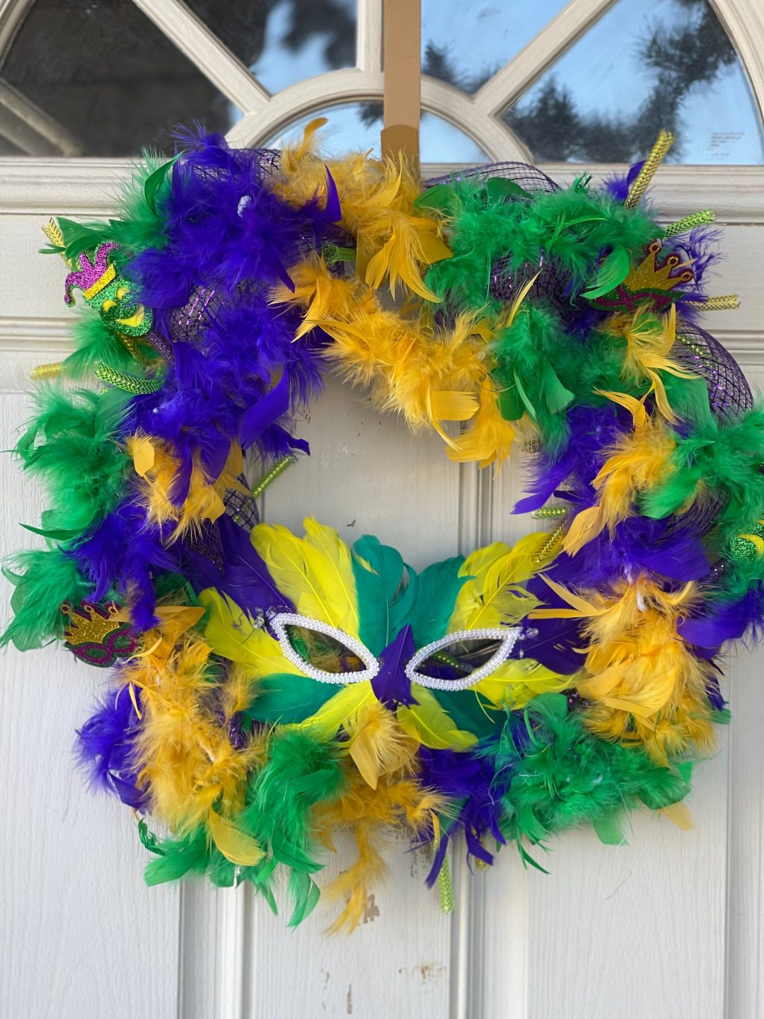 Mardi Gras wreaths with feathers