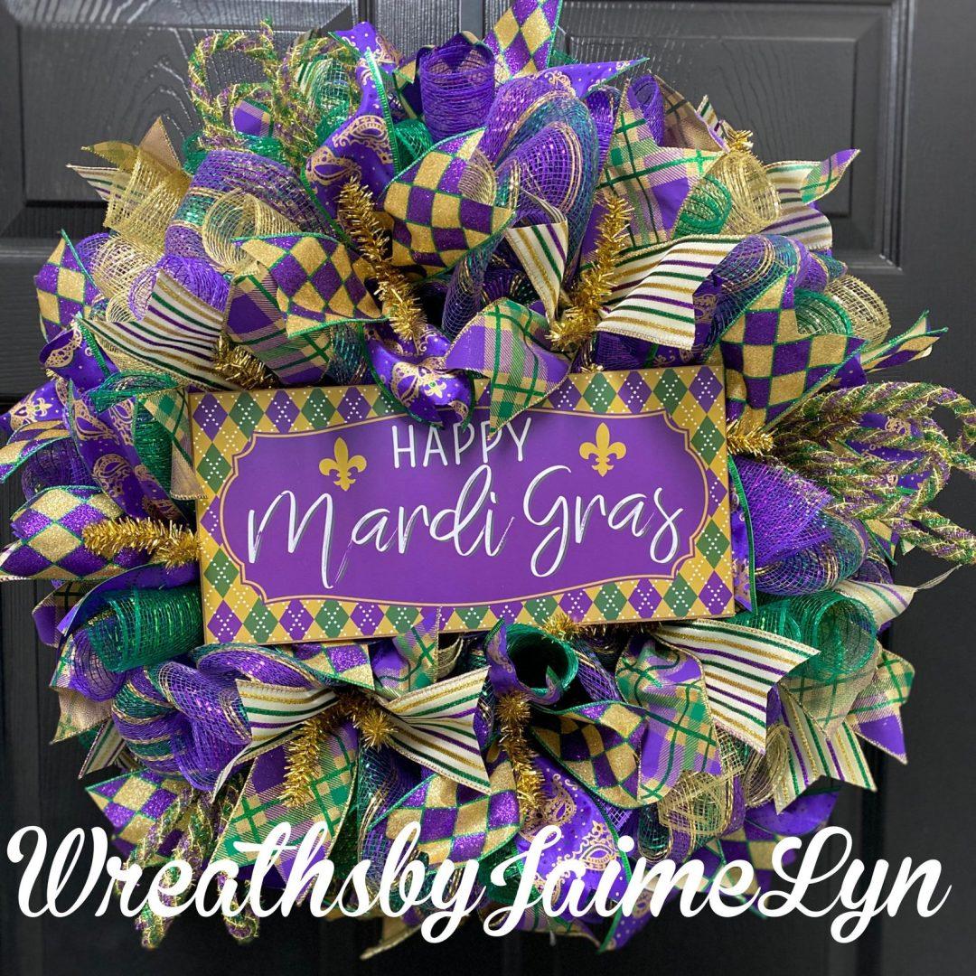 Deco mesh Mardi Gras wreaths with ribbon