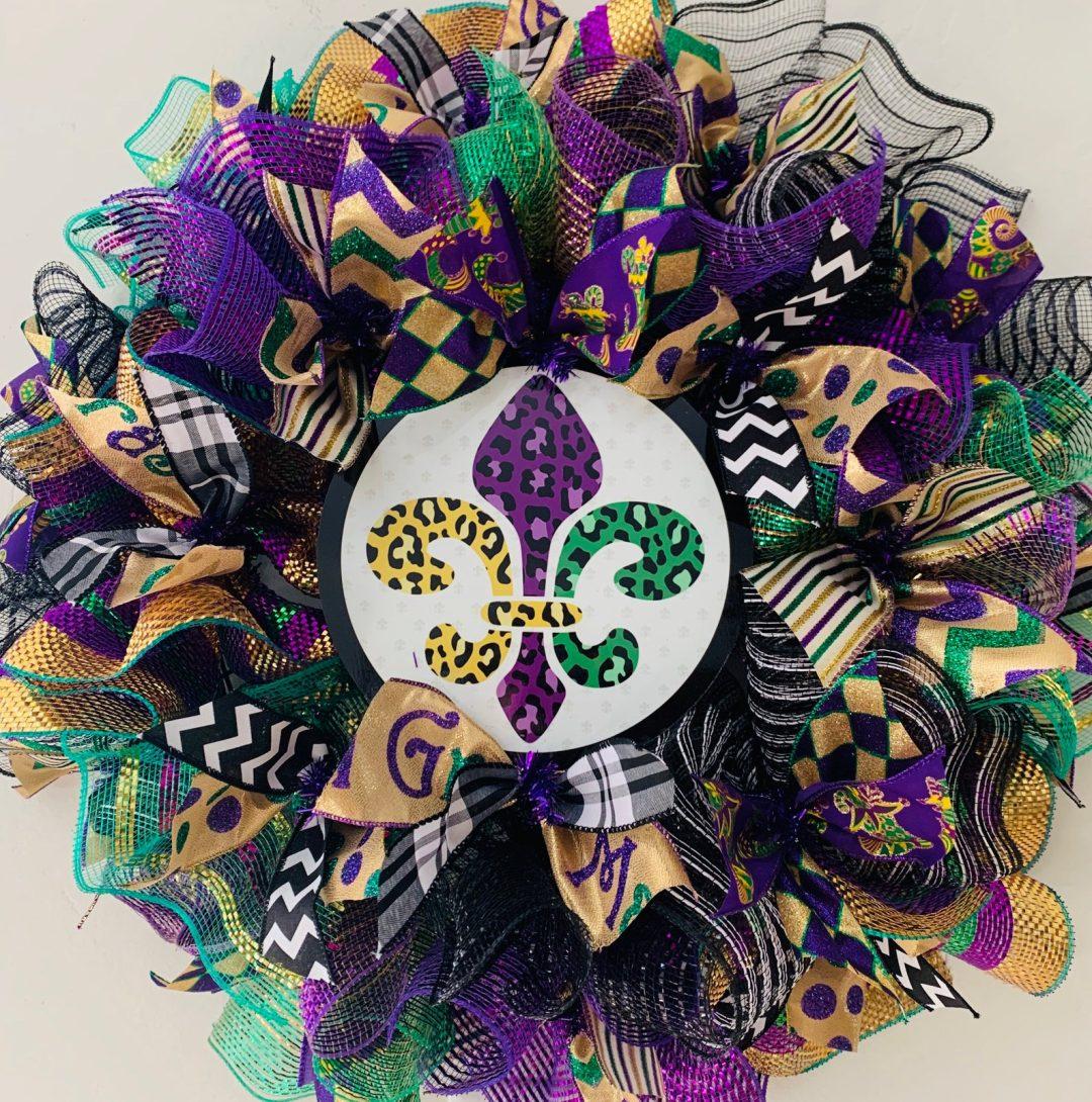Deco mesh Mardi Gras wreath with ribbons