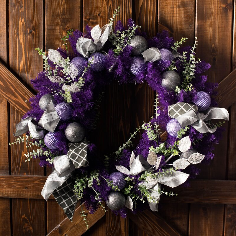Silver and purple wreath with baubles