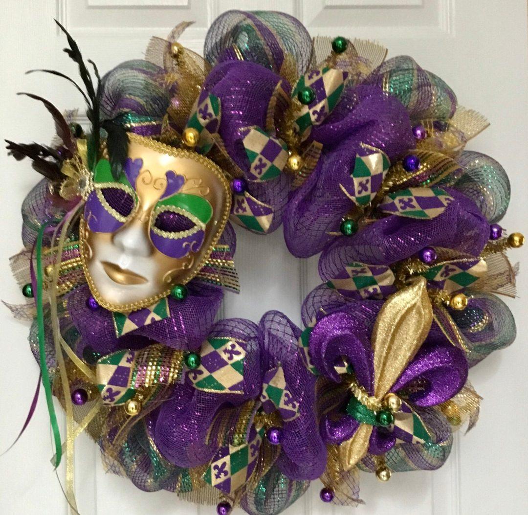 Mardi Gras wreaths with mask