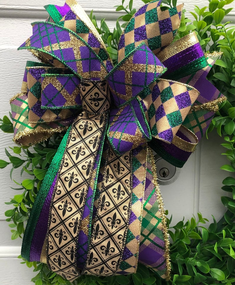 Purple, green and gold ribbon decoration