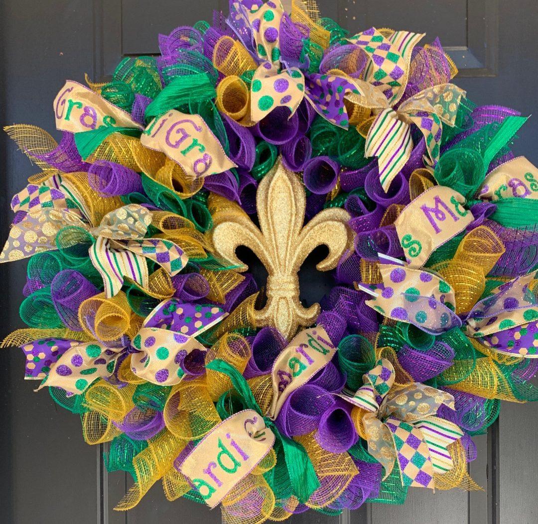Green, purple and gold Mardi Gras wreath