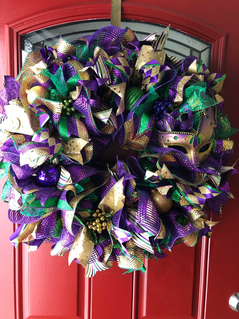 Gold, green and purple ribbon wreath