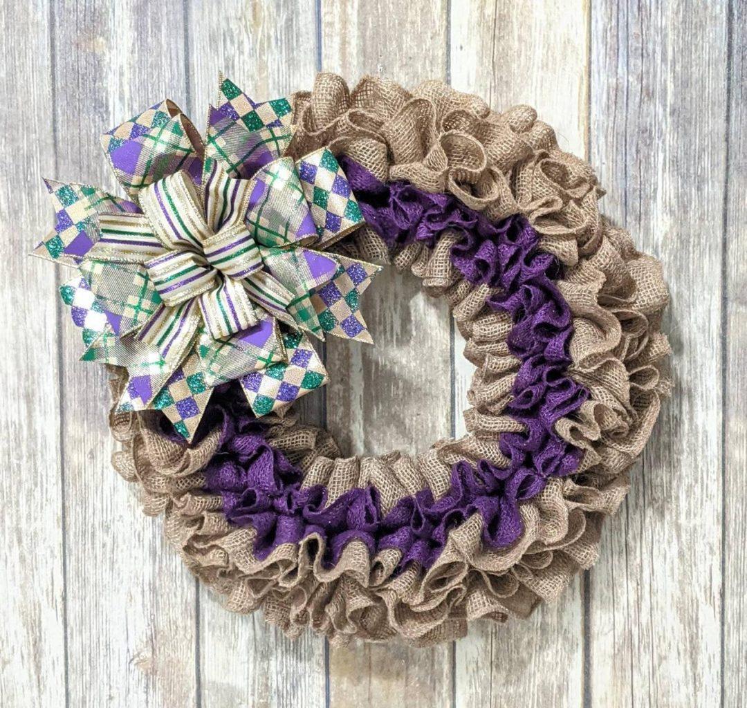 Burlap Mardi Gras wreaths with ribbon