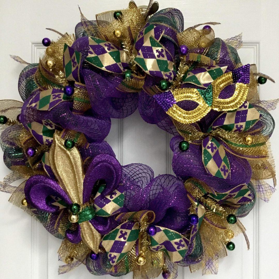 Gold and purple Mardi Gras wreaths