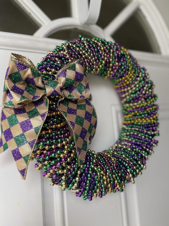 Green and purple beaded wreath - Mardi Gras wreaths