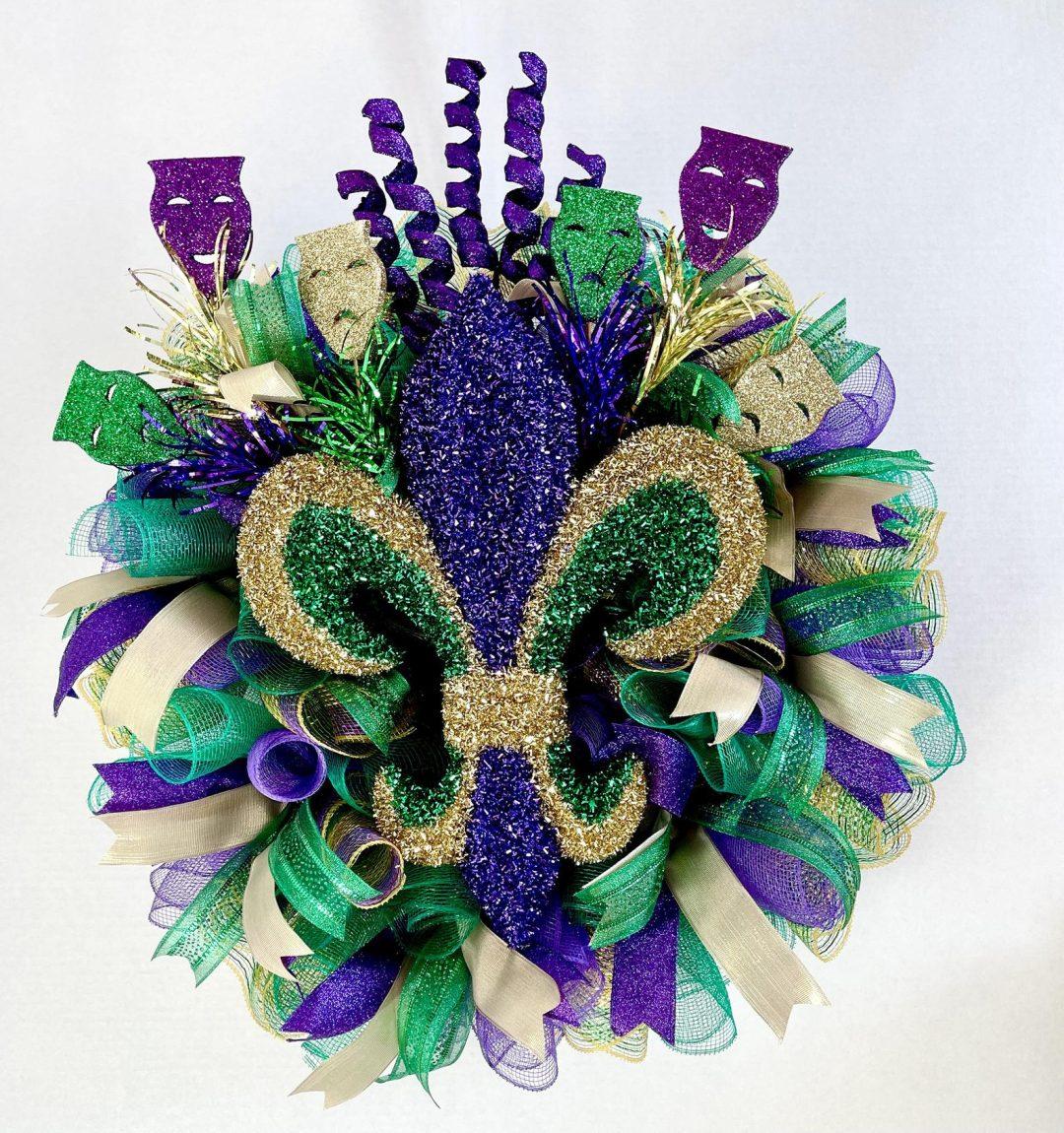 Green and purple Mardi Gras wreath