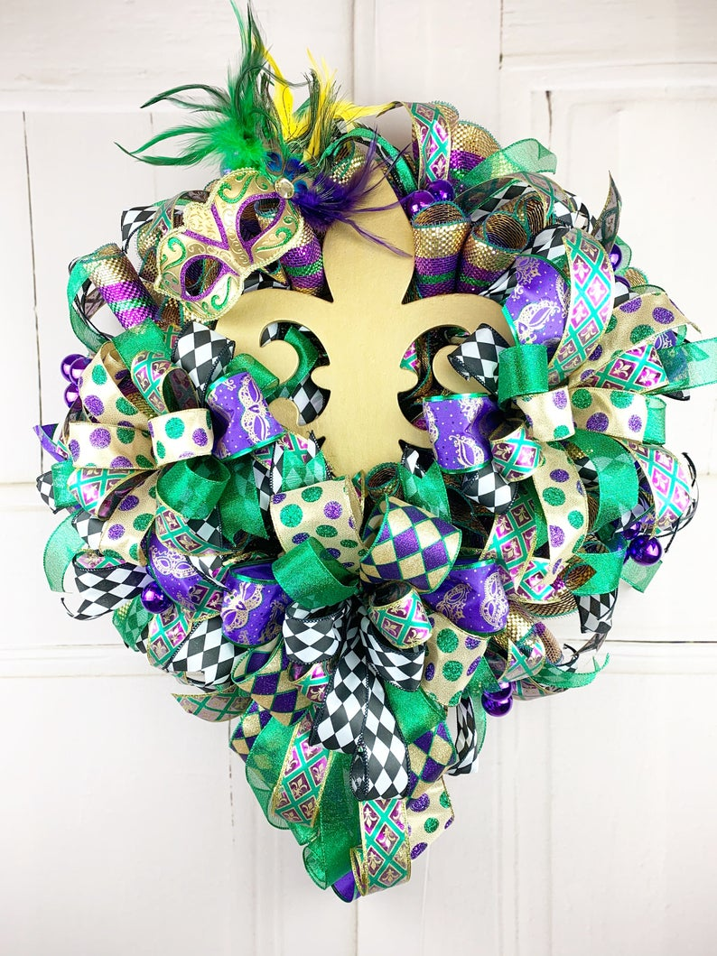 Mardi Gras wreath with ribbons