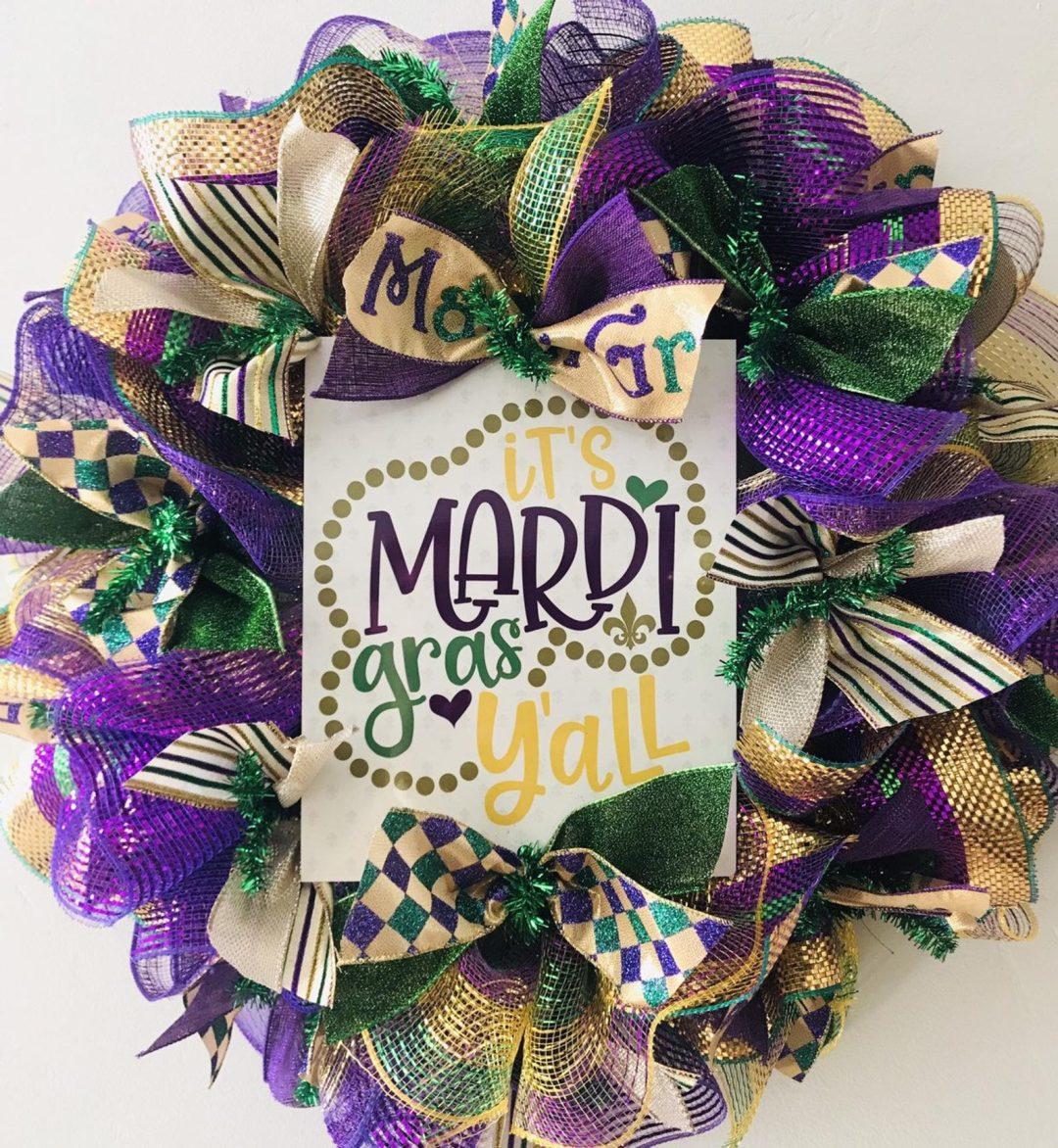 Deco mesh Mardi Gras wreaths