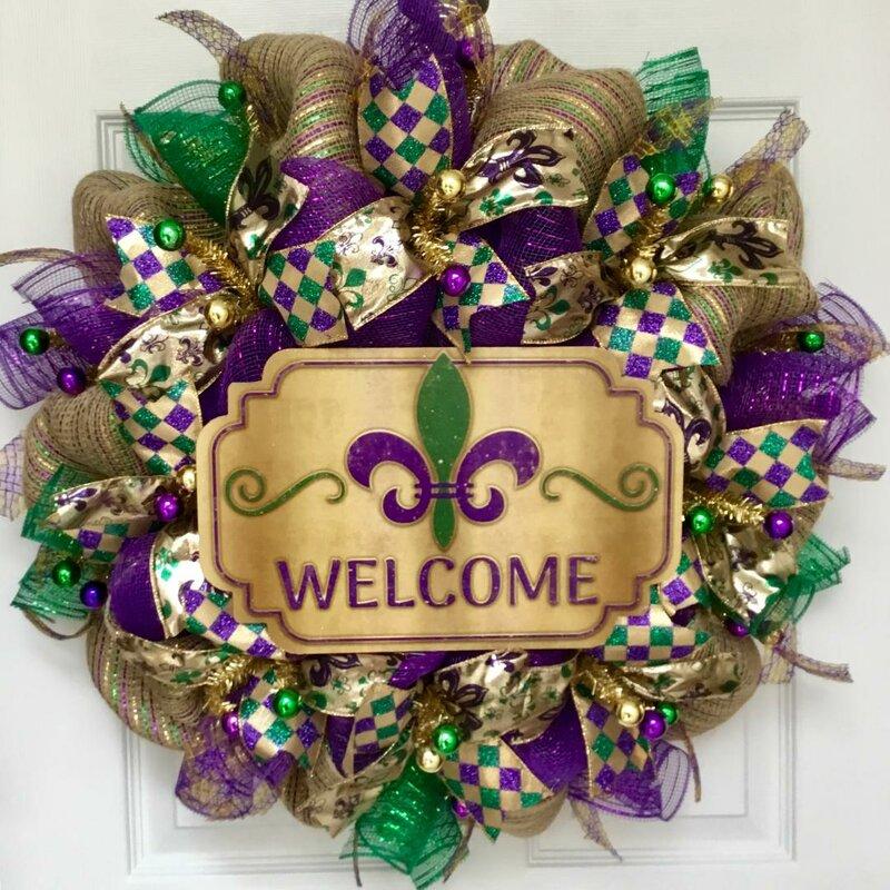 Purple and gold Mardi Gras wreath