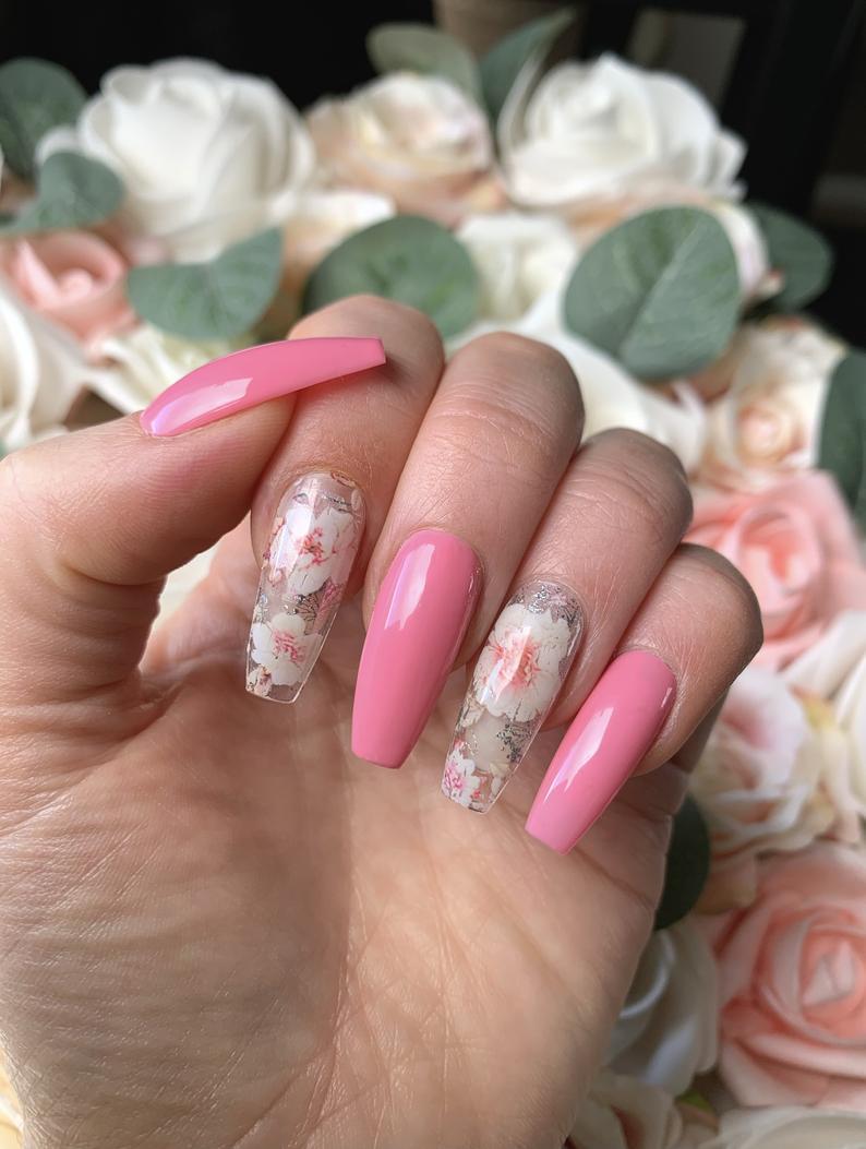 Pink flower spring nails