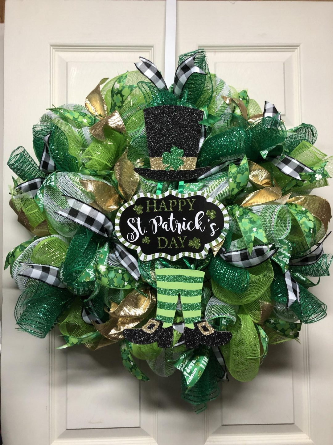 St. Patrick's Day wreaths with deco mesh
