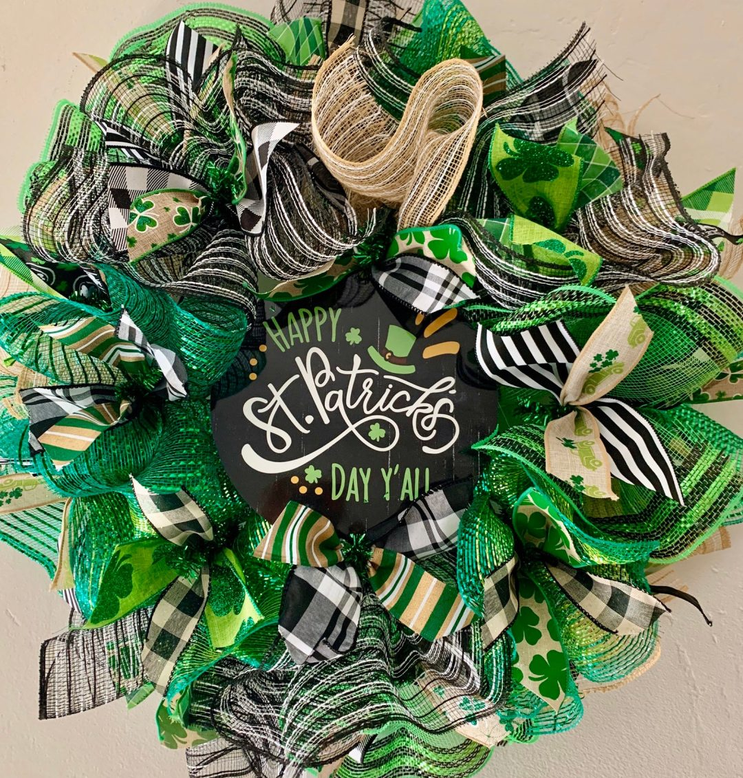 Green deco mesh St. Patrick's Day wreaths