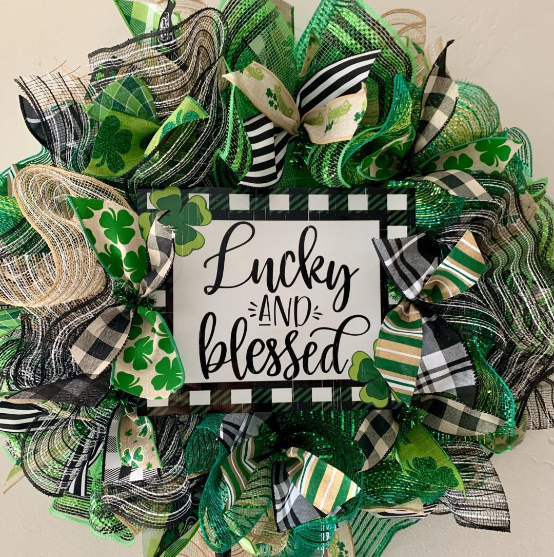 Green deco mesh Irish wreaths