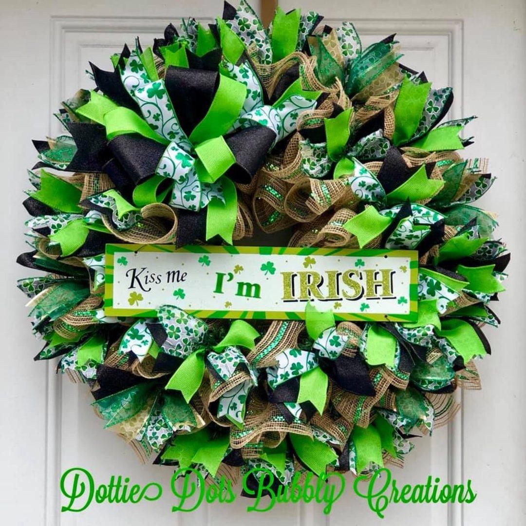 Irish wreaths with ribbons