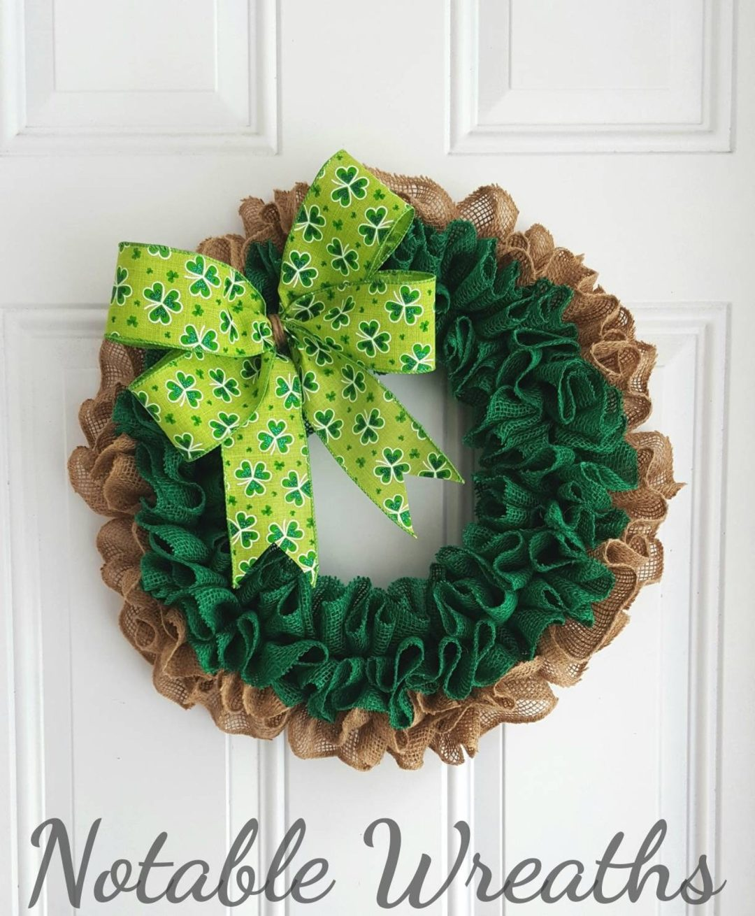 Burlap St. Patrick's Day wreaths with ribbon