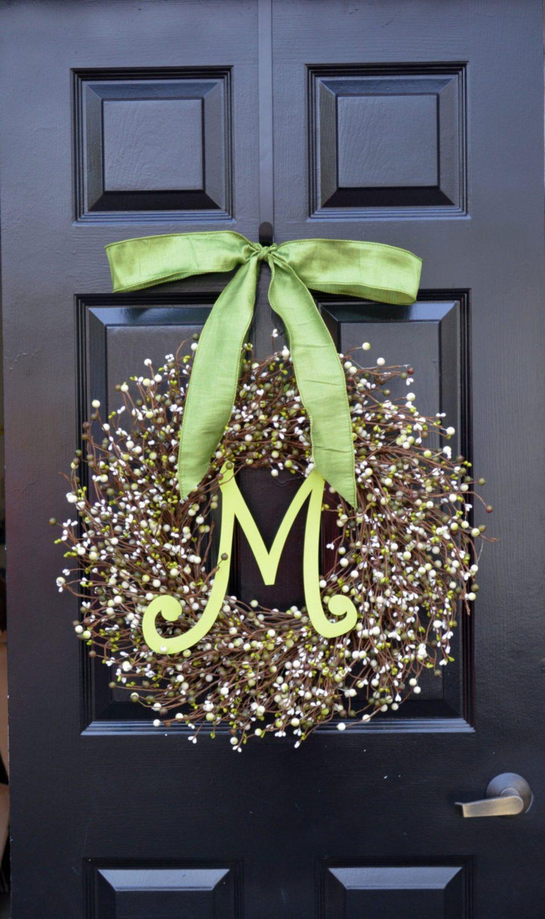 Monogram berry wreath for spring