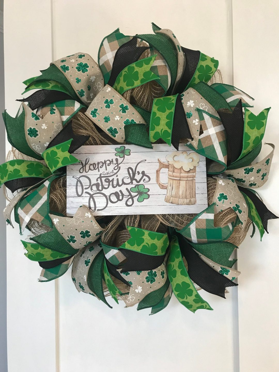 St. Patrick's Day wreaths with ribbons