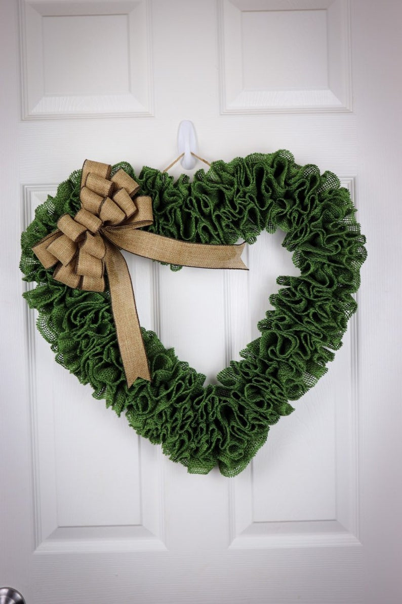 Heart shaped St. Patrick's Day wreaths with deco mesh