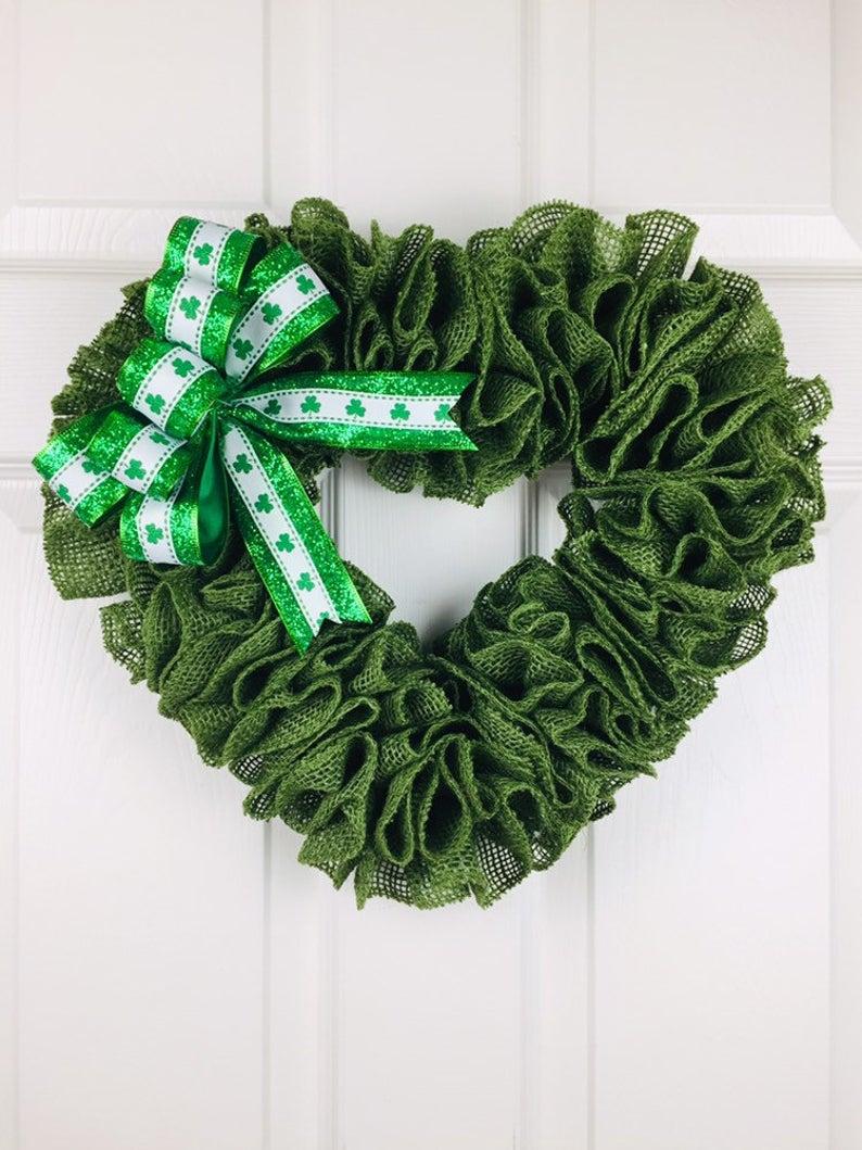 Heart shaped burlap St. Patrick's Day wreaths