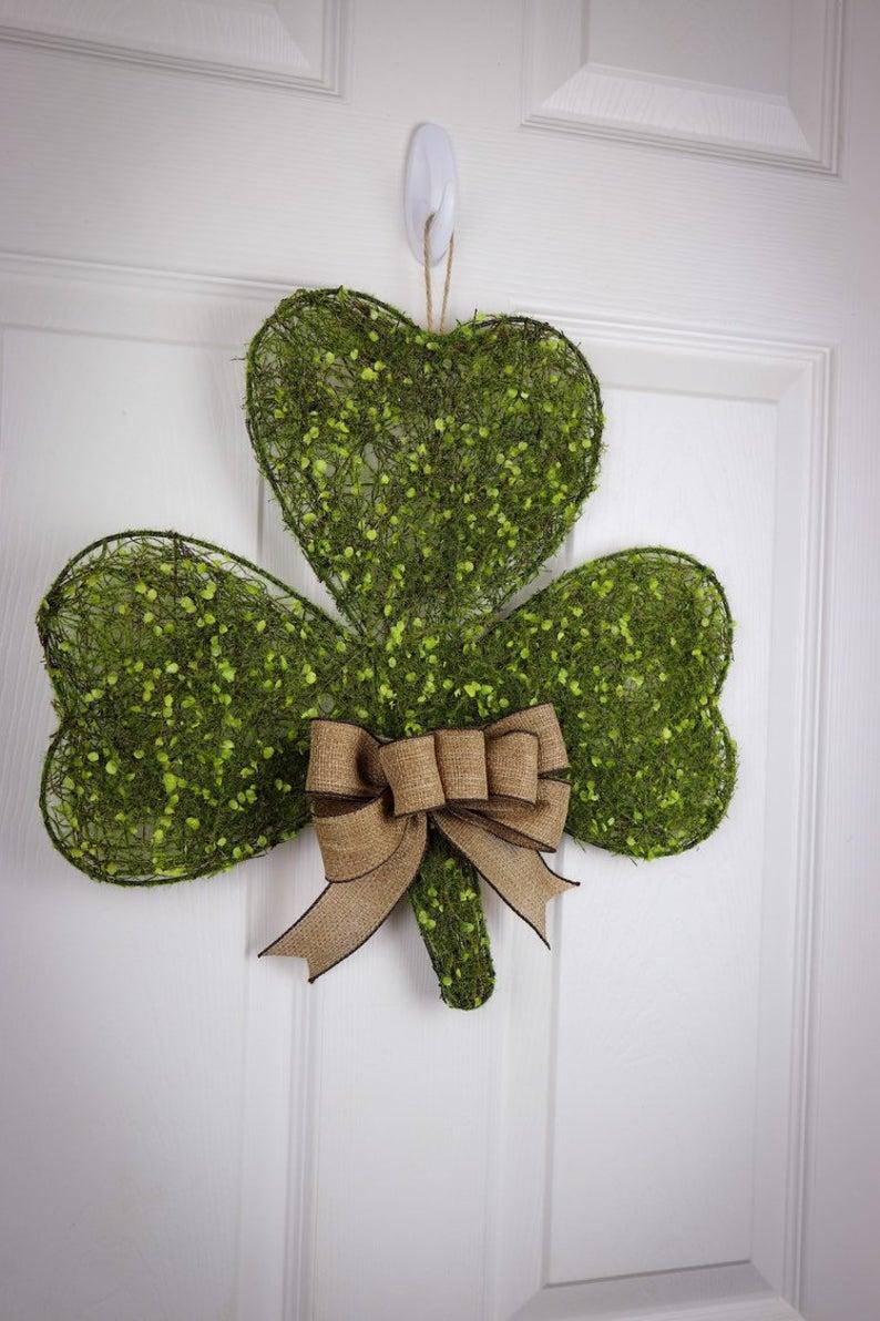 Glitter shamrock wreaths and shamrock door hanger