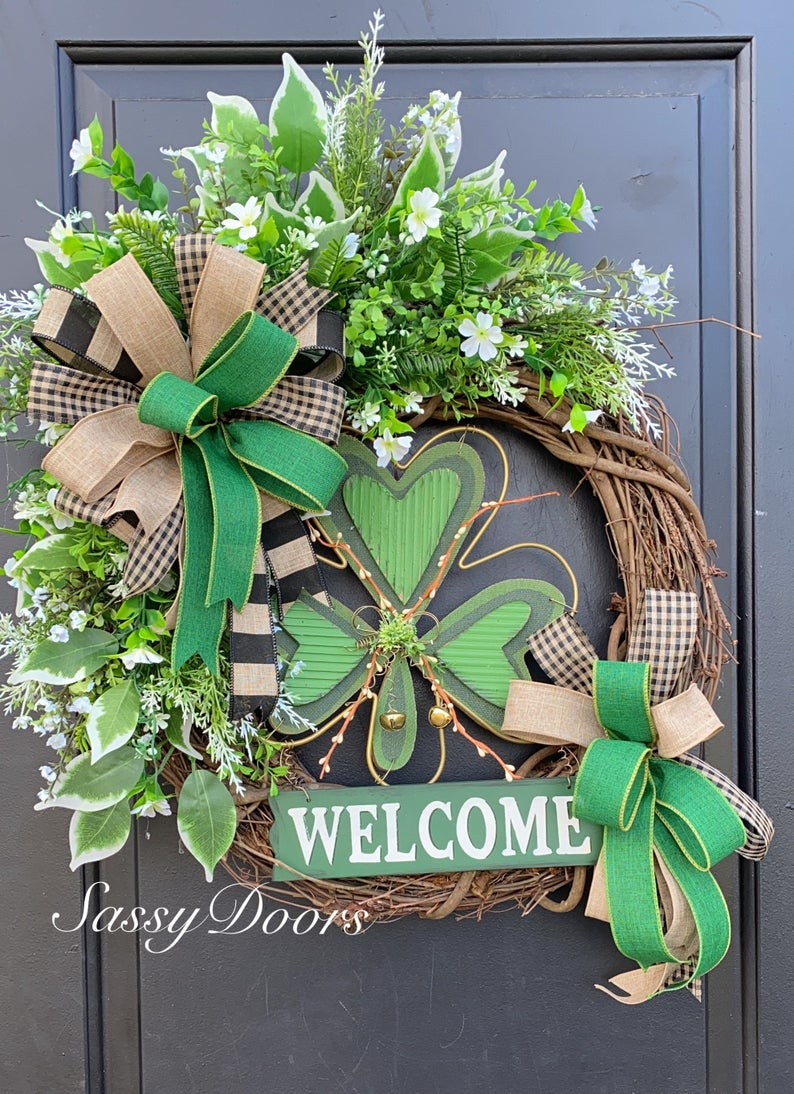 Grapevine St. Patrick's Day wreaths with shamrock
