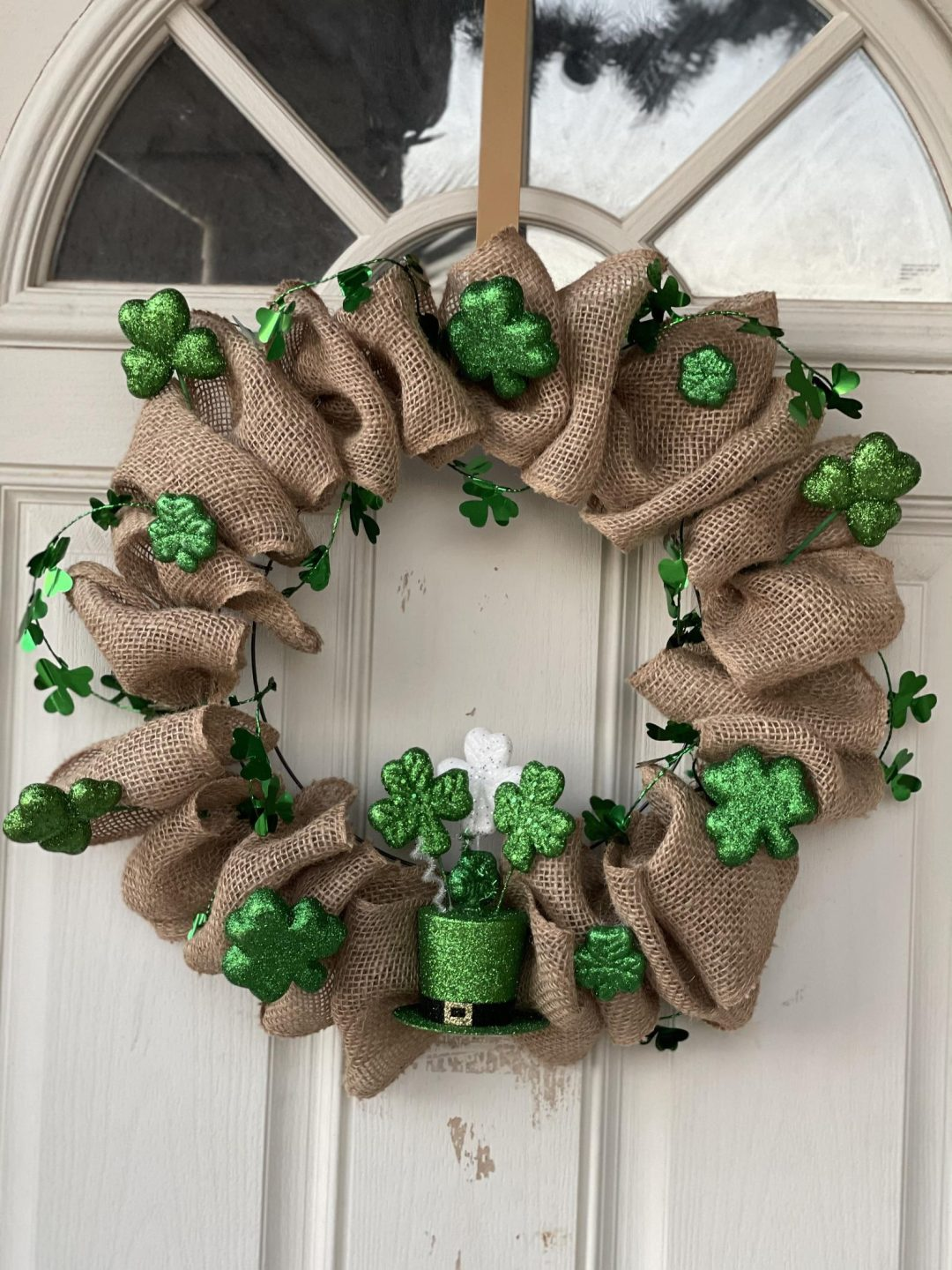 Shamrock and burlap St. Patrick's Day wreaths