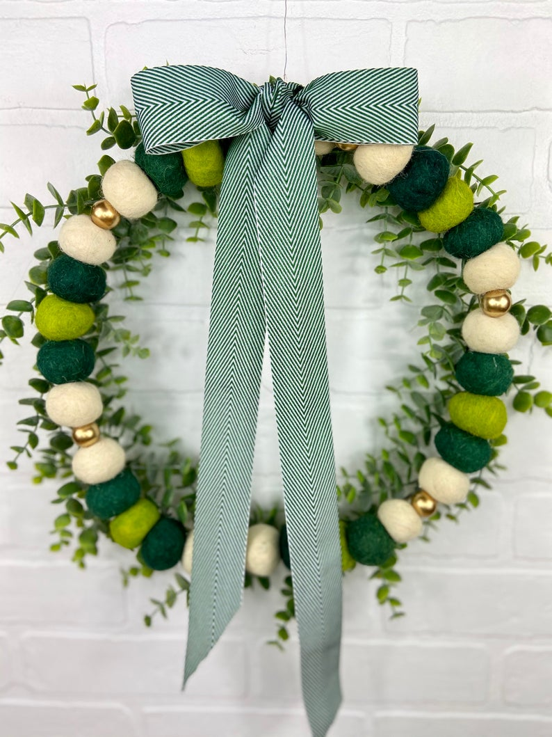 Green beaded wreath for St. Patrick's Day
