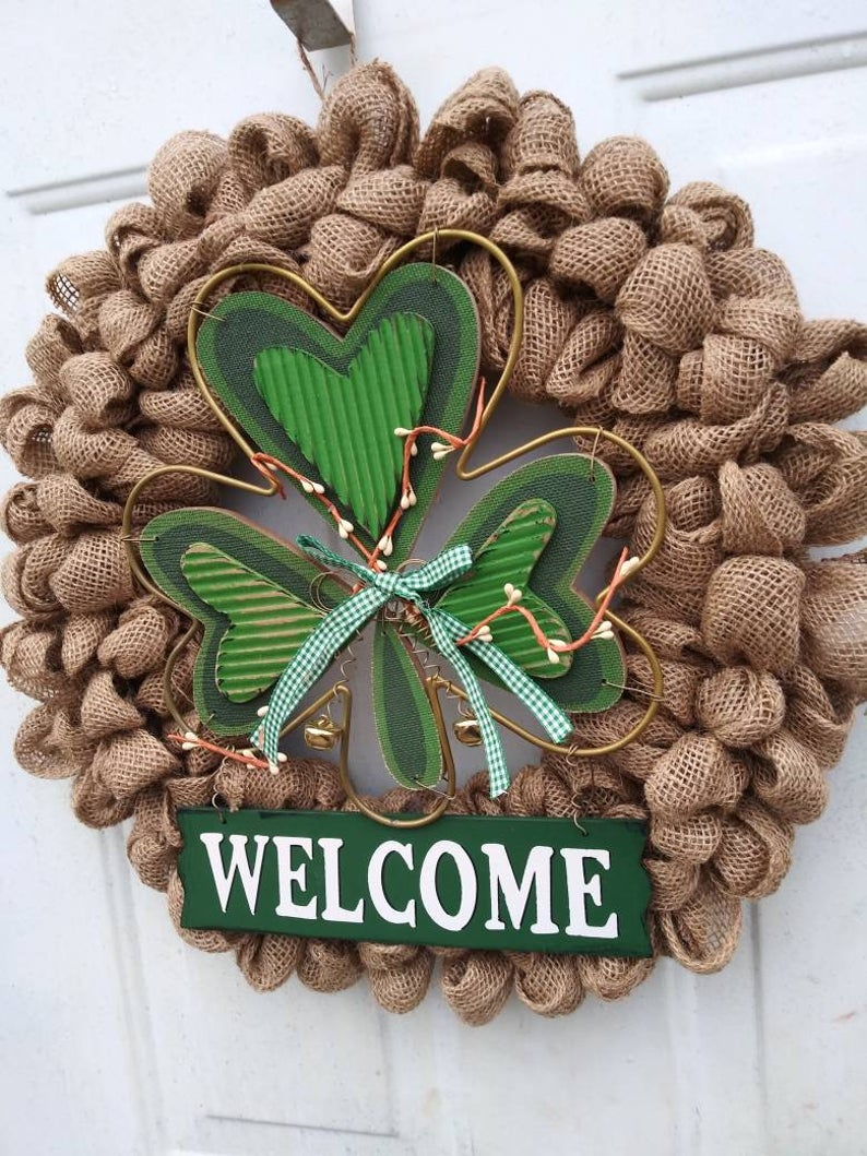 Burlap St. Patrick's Day wreaths with shamrock