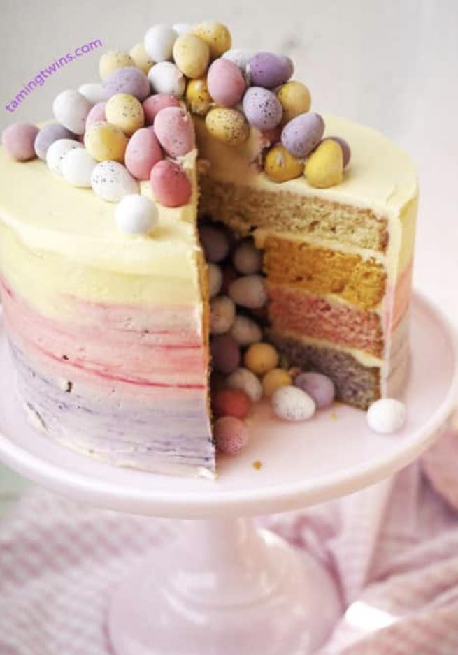 Easter Ombre Pinata Cake