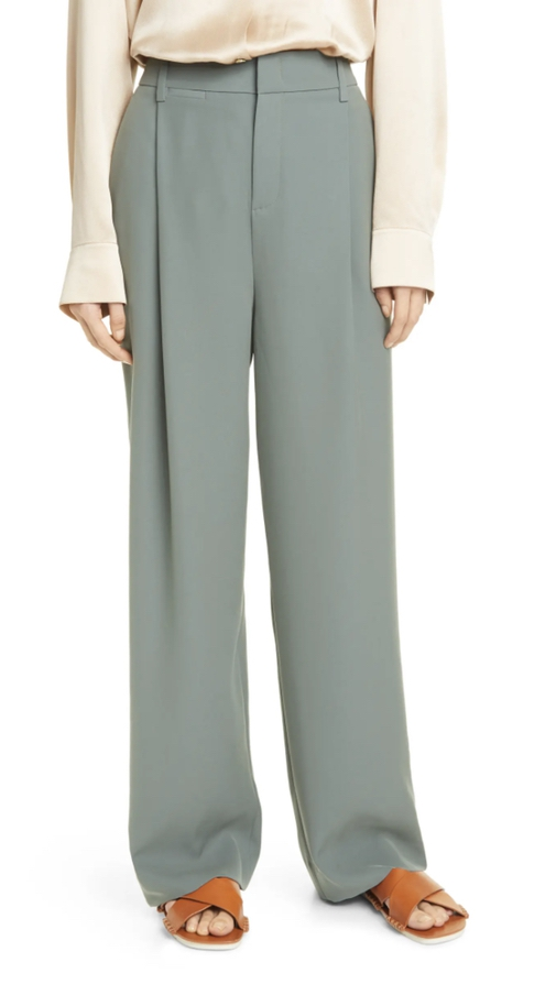 Sage green oversized trousers