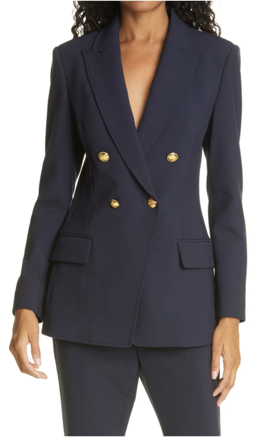 Navy blue trouser suits for female wedding guests