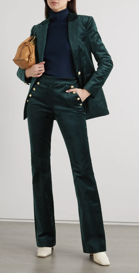 Green velvet blazer and trouser suits for female wedding guests