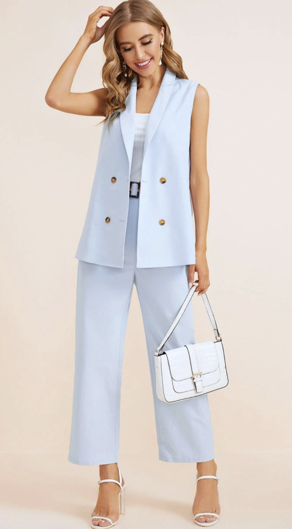 Baby blue trouser suits for female wedding guests with vest