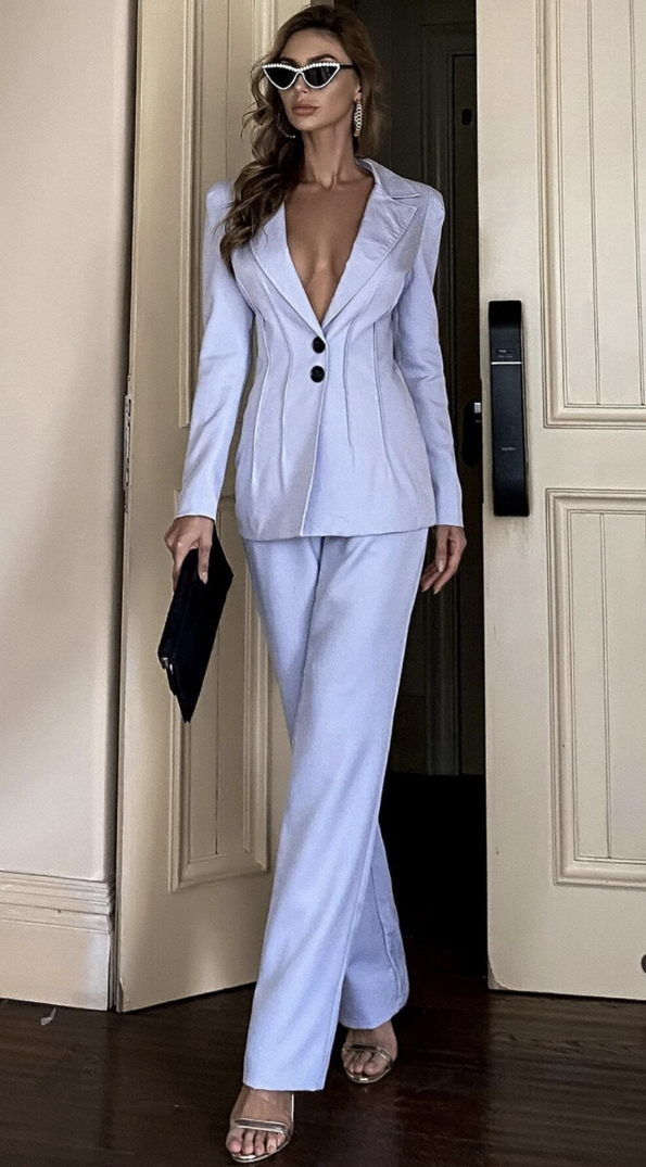 Pastel blue blazer and trouser suits for female wedding guests