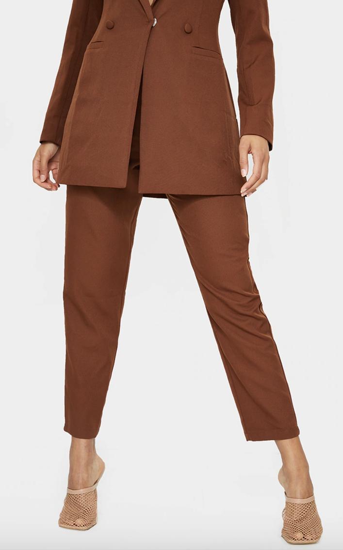 Chocolate brown blazer suit