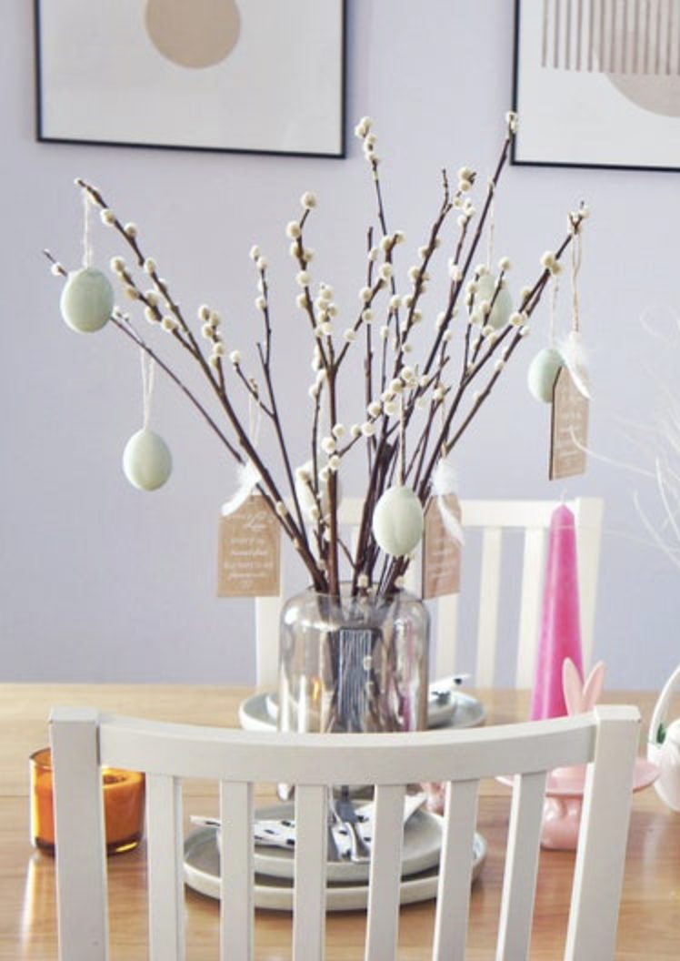 Pussy willow Easter tree ideas with eggs
