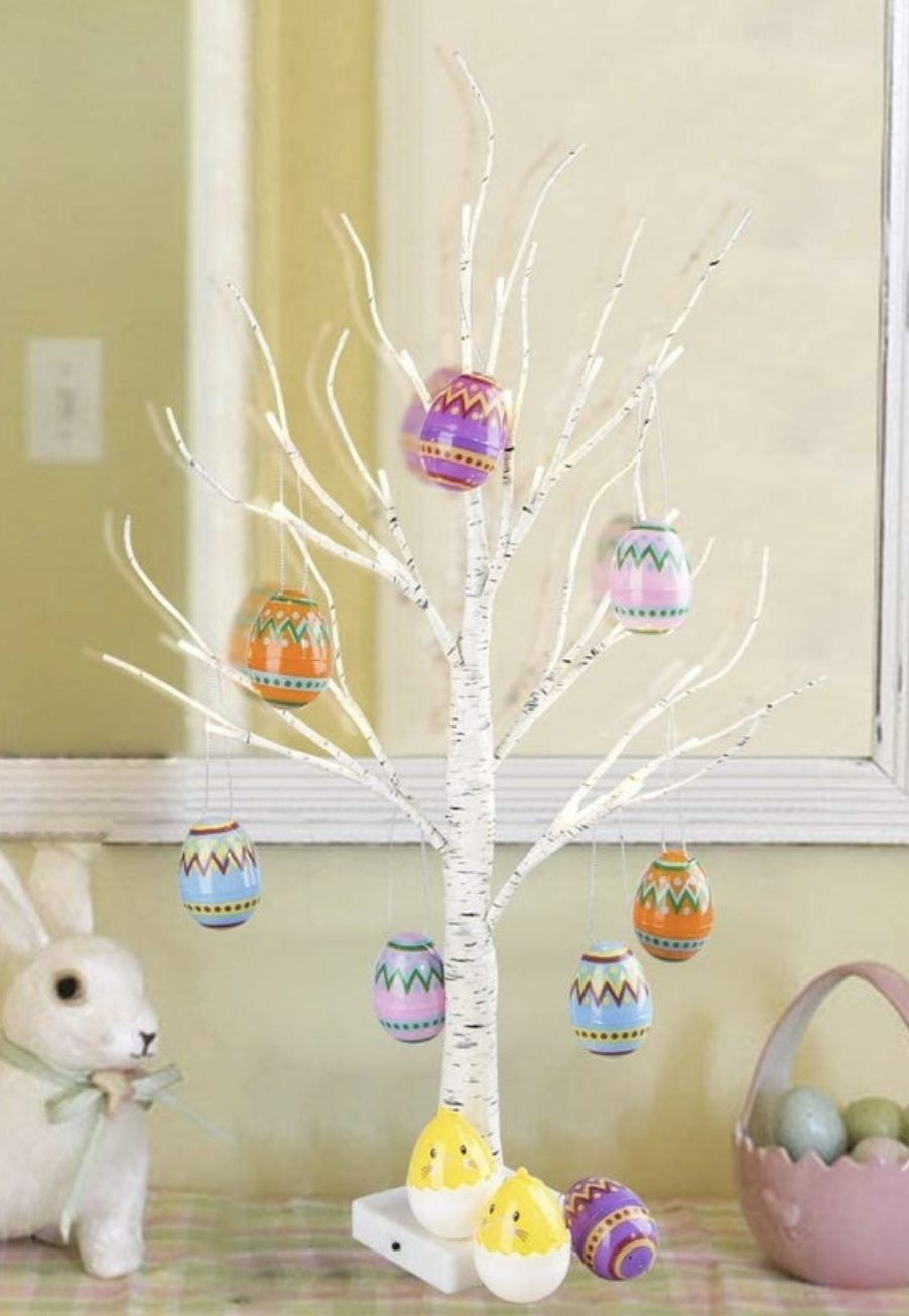 Birch Easter tree decorations with eggs
