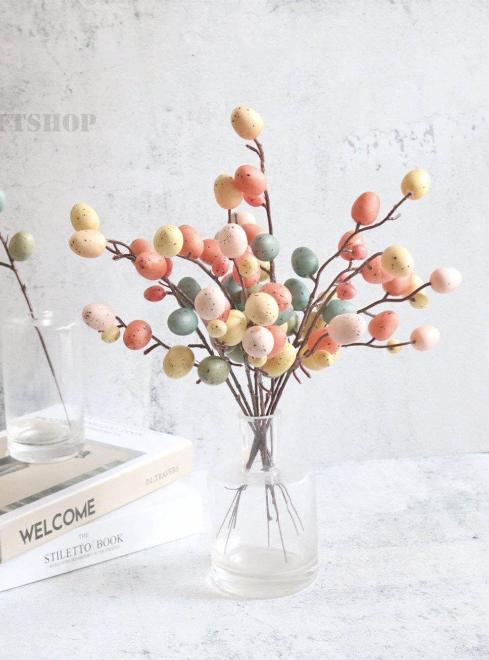 Easter tree egg decorations with stems