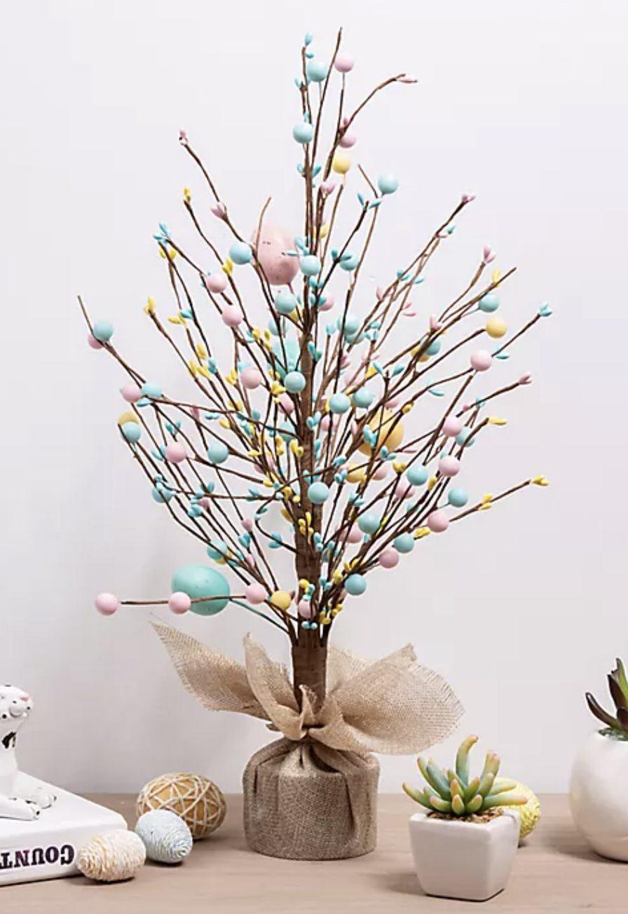 Pastel blue Easter tree stems