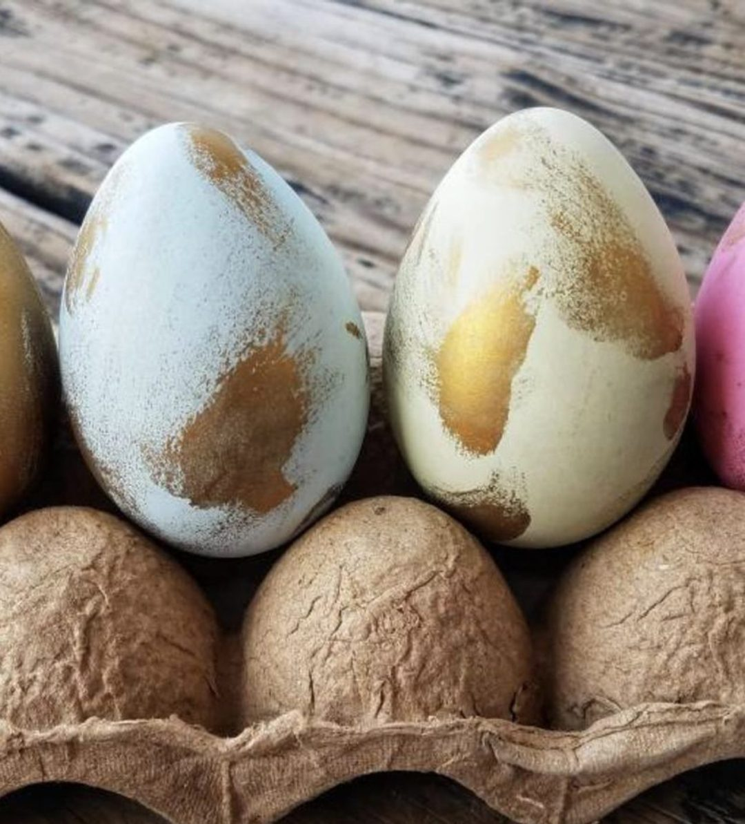 Pastel Easter eggs with gold foil